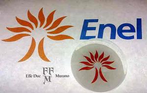 presspapier fermacarte in vetro di MURANO personalizzato per ENEL