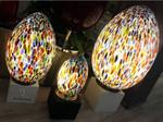 lampade di murano uova con murrine arcobaleno 3 misure