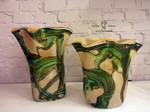 vasi di murano beige argento verde 2
