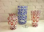 vasi di murano murrina moderna blu e rosso