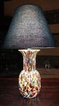 lampada da tavolo in vetro con paralume